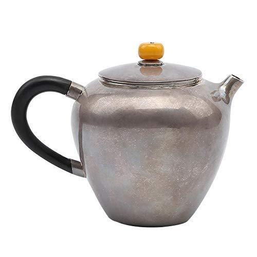 XHH Tetera Plateada Tetera Plateada 999 Mango de sándalo Viejo Hecho a Mano Antiescarcha Kung Fu Tetera pequeña Juego de té de Tetera Plateada (Profesional y Hermoso)