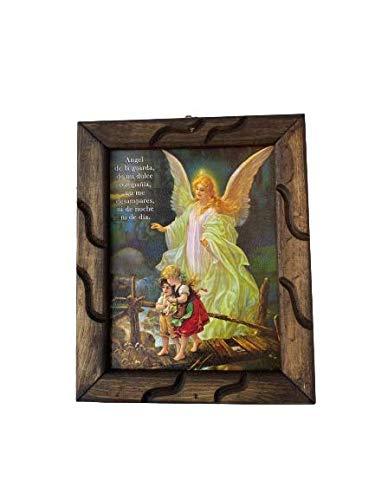 Angel De La Guarda 9'x11' Imagen Cuadro Rustico Angel Guardian Wooden Rustic Frame, New