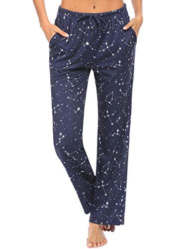 Ekouaer Women Lounge Pants Comfy Pajama Bottom with Pockets Stretch Plaid Sleepwear Floral Print Drawstring Pj Bottoms Pants (Apparel)