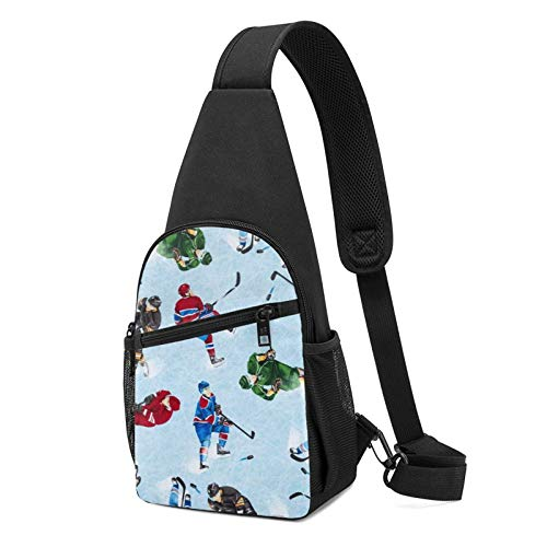 Sling Bag for Men Anti-Theft Shoulder Backpack ice skating Hockey Athlete Helmet Stick Chest Bags Adjustable Crossbody Lightweight Daypack Outdoors & Gym