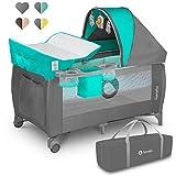 Lionelo Sven Plus boîte 2 en 1 lit bébé lit bébé table à langer jouets baldaquin suspendu avec moustiquaire entrée latérale supplémentaire rouleaux mobiles système LockGuard, turquoise