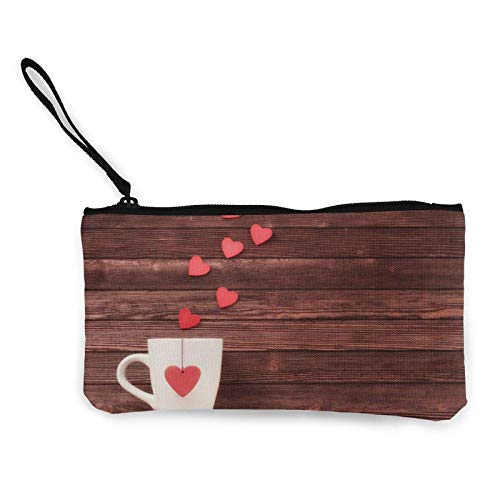 Romantische Kaffee Sushi Canvas Cash Coin Purse Zipper Wristlets Purse Wallets Makeup Bags for Women and Girls
