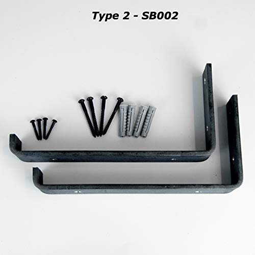 Rustikales Gerüstbrett, Schwerlast-Regalträger aus industriellem Eisen/Stahl (Paar) von BMF Direct®