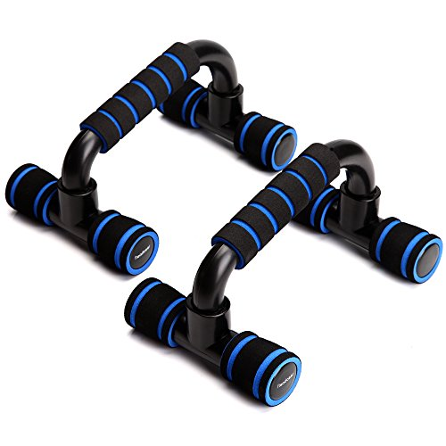 Readaeer Push Up Bars Gym Exercise Equipment Fitness 1 Pair Pushup Handles with Cushioned Foam Grip and Non-Slip Sturdy Structure Push Up Bars for Men & Women (Blue)