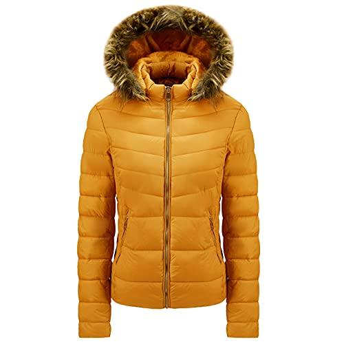 Chaqueta de invierno para mujer, larga, cálida, forrada, con gorro extraíble, abrigo de invierno, largo con capucha de piel, chaqueta acolchada, parka de invierno para mujer