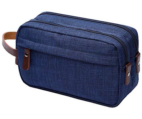 IBLUE Toiletry Bags,Mens Double Zipper Toiletry Bag Dopp Kit Travel Bathroom Bag Waterproof Shaving Shower Cosmetic Organizer,#B01 (NAVY BLUE)