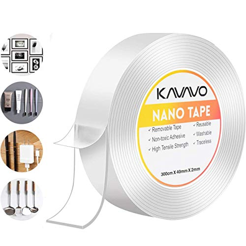 Cinta Adhesiva Nano, 300cm Cinta Adhesiva Transparente Extraíble Multifuncional sin Rastros, Cinta Adhesiva de Doble Cara Reutilizable Lavable Fuerte Agarre de Gel para Oficina,Alfombra, Cocina