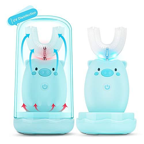 U Zahnbürste Kinder, Elektrische Zahnbürste für Baby Kinder mit Trinkglas 360 ° Ultraschall Zahnbürste U-typ für Kinder von 2-6 Jahren,3 Modi 45s Timer, IPX7 Wasserdicht