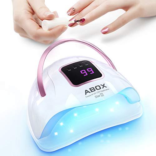 Nagellampe, ABOX LED UV Lampe set, 72W Nageltrockner mit 36 LED-Lampen, 4 Timer, LCD Anzeige und...