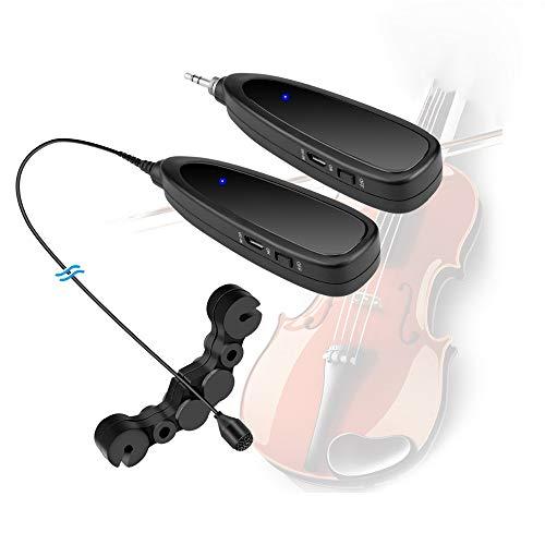 Xflelectronic Micrófono de violín, Micrófono de Condensador omnidireccional, 2.4G Mini inalámbrico inalámbrico Profesional Instrumento Musical Sistema de micrófono, para violín