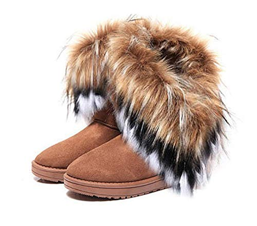 King Ma Women's Faux Fur Tassel Winter Snow Boot Suede Flat Ankle Boots Brown