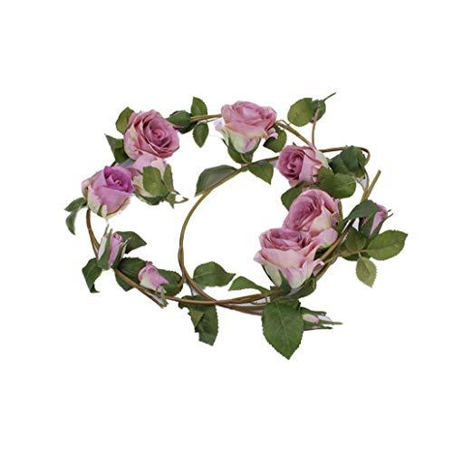 NaisiCore Artificiales Purple Rose Garland vides Colgantes Flores de Seda para la Boda al Aire Libre de Interior Pared Badroom Decoración Casa y jardín