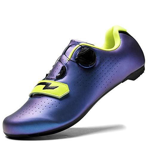 KUXUAN Zapatillas De Ciclismo De Carretera para Hombre Zapatillas De Spinning con Tacos Compatibles Peloton con SPD Y Delta para Hombre,Blue-4UK=(235mm)=37EU