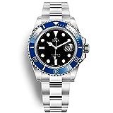 Reloj de buceo automático para hombre, correa de acero inoxidable, bisel de cerámica, espejo de zafiro, superluminoso, 100 m, resistente al agua, azul y negro, Pulsera