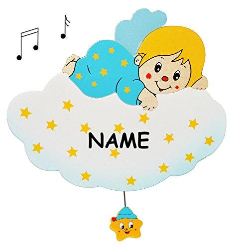 Spieluhr aus massiven Holz - Blauer Engel auf Wolke incl. Namen  Wiegenlied - Guten Abend Gute Nacht  - Kinderzimmer Melody - Musikspieluhr für Kinder mit S..
