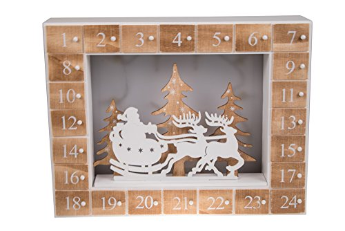 Calendario de Adviento - 24 días hasta Navidad - Madera - Diorama con Luces LED para la Noche de Navidad - Funciona a Pilas - Papá Noel, Trineo y Reno - 34,9 x 26,7 cm