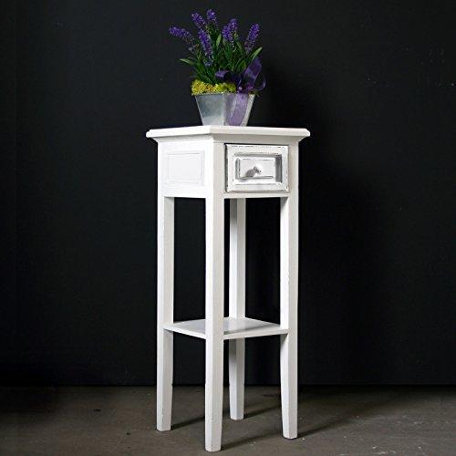 My Flair Meridian Telefontisch/Beistelltisch/Konsole antik weiß, Landhausstil mit Shabby-Chic-Look, 0821DF