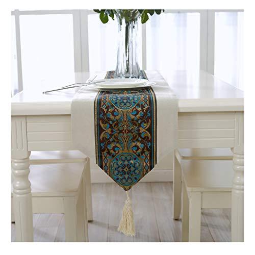 Bandera de mesa, Bandera del gabinete, Mantel, Bandera de la cama, Moderno, Simple, Rural, País, Mesa de centro, Decoración de la mesa, Tira larga, Neoclásico ( Color : Blue totem , Size : 33*210cm )