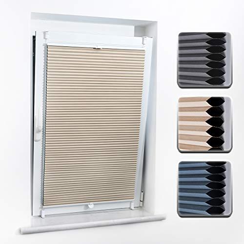 Buseu Wabenplissee Verdunklung Zweifarbig 45x 130cm(BXH) Beige-Weiß, Thermorollo für Fenster ohne Bohren Sonnen-, Sicht- & Schallschutz Plissee klemmfix