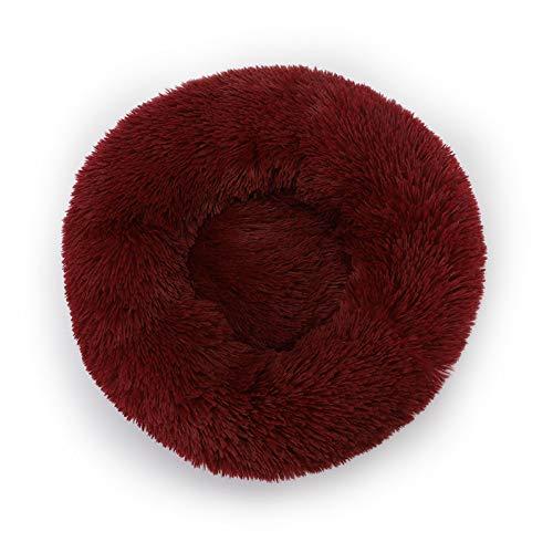 Cama redonda de felpa de pelo artificial para perros y gatos, cojín suave y esponjoso y cálido en invierno (gris) vino rojo-M