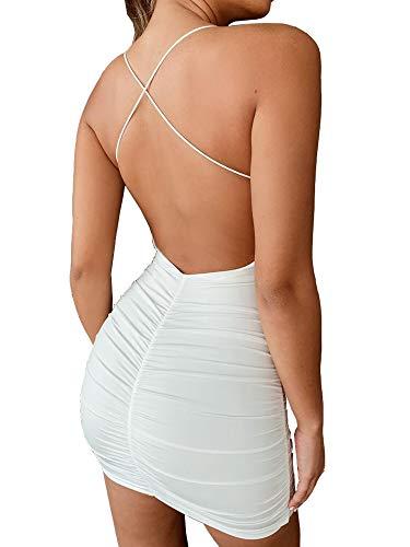 just quella Women Sexy Clubwear Backless Party Dresses Spaghetti Strap Bodycon Mini Dress