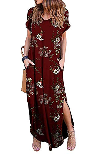 Zilcremo Damen Strandkleid Bohemian Lang Kleid Sommerkleid Kurze Ärmel Boho Floral Kleider Maxikleid Winefloral XL