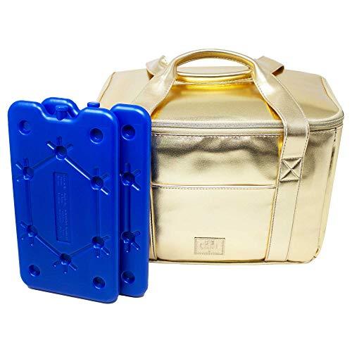 ToCi Be Cool City S Glacière 29 x 18 x 21 cm 10,5 l avec lot de 2 blocs réfrigérants plats 400 ml (doré)