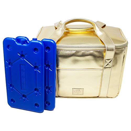 ToCi Be Cool koeltas koelbox City Gold 10,5 liter | 29 x 18 x 21 cm | incl. 2-delige set 400ml koelelement plat