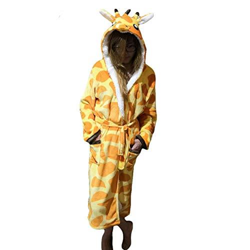 Frauen Robe Bademäntel Nachtwäsche Weibliche Winter Warme Flanell Einhorn Stich Langhülse Nachthemd, Giraffe, L