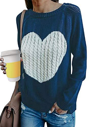 Tuopuda Jersey Mujer Otoño Punto Suéter Básico Jerséis Casual sólido Largo Manga Jersey Amor suéter Suelto Sudaderas de O-Cuello Invierno Oversize