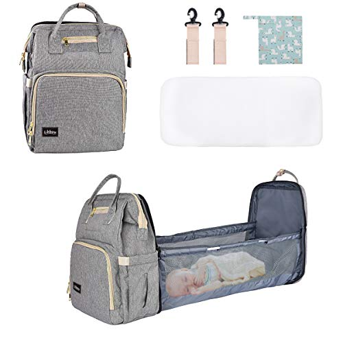 3 in 1 Baby Diaper Bag Backpack Bassinet Foldable Waterproof Mommy Bag with...
