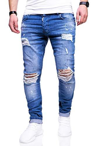 behype. Herren Destroyed Stretch Jeans-Hose Used Slim-Fit 80-2369 Blau W29/L32
