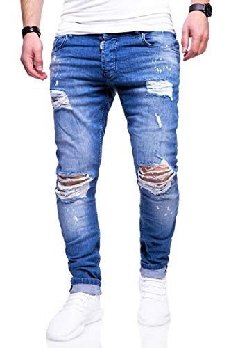 behype. Herren Destroyed Stretch Jeans-Hose Used Slim-Fit 80-2369 Blau W32/L32