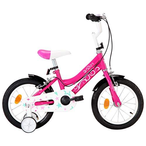 vidaXL Kinderfahrrad mit Kettenschutz Schutzblech Höhenverstellbarer Lenker Mädchenfahrrad Kinderrad Fahrrad für Kinder Mädchen 14 Zoll Schwarz Rosa