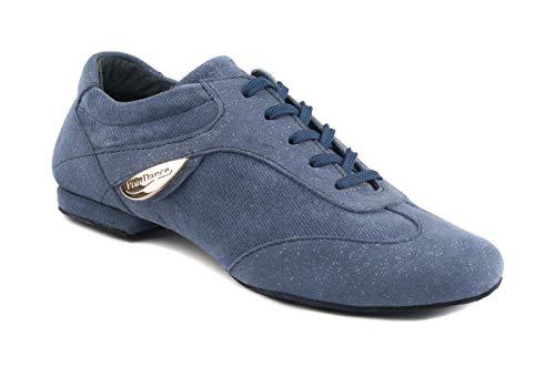 PortDance Zapatos de baile para mujer PD07 Fashion – Material: denim/ante – Color: Azul – Suela: piel áspera – Fabricado en Portugal, color Azul, talla 39 EU