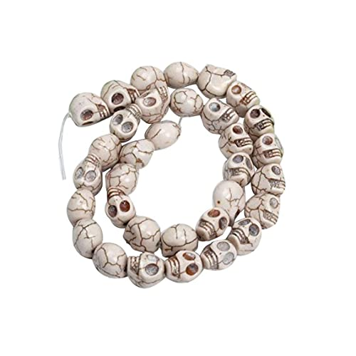 cdzhouji Pulsera Beads Mini Croadías Cráneos Tallado Skull Squeleto Spacer Bead para La Pulsera De Artesanía Collar Partido Halloween 12mm Blanco 12pcs