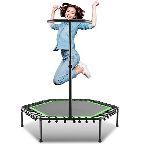 ANCHEER Mini Trampoline, Rebounder for Adults Kids Fitness, 50' Trampolines Trainer with Adjustable Handle Bar for Indoor/Outdoor/Garden/Yoga Workout Exercise