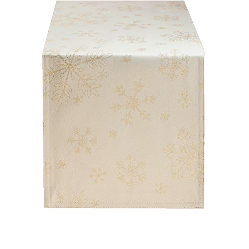 HARORBAY Christmas Table Runner 13 x 108 Inch, Cream Snowflake Table Runner for Thanksgiving Fall Holiday, Farmhouse Gold Dresser Scarf for Coffee Table (Crystal Serie)