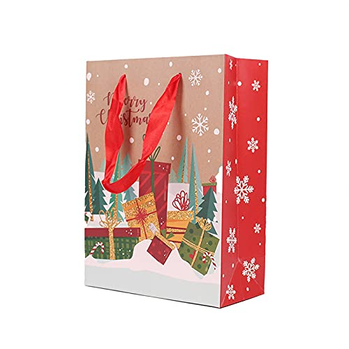 Geschenkbeutel 12 Stücke Kraft Papier Verpackung Geschenk Geschenk Party Candy Drage Kuchen Plätzchen Tasche Schneeflocke Santa Taschen-12X15X7Cm_Ein