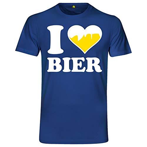 I Love Bier T-Shirt | Ich Liebe | Beer | Alkohol | Saufen | Party | Weizen Blau M