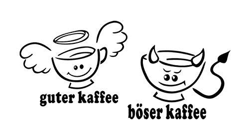 WandTattoo KÜCHE CAFE COFFEE guter Kaffee böserKaffee 30 Farben 7 Größen zur Wahl wkf34(070 schwarz, Größe 1:ca.18 x10cm)