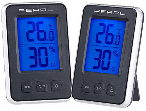 PEARL Zimmerthermometer: 2er Pack Digitales Thermometer/Hygrometer mit großem beleuchtetem LCD (Raum-Hygrometer)