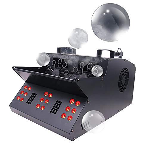 1500W 3 in 1 LED Nebelmaschine Seifenblasen-Maschine, Bubble Double Maker Seifenblasenmaschine,DMX512-Steuerung,18 LEDs Mit Farbwechse Für Disco und Konzerte im Freien, Clubs, Partys, Bars, DJ,Black