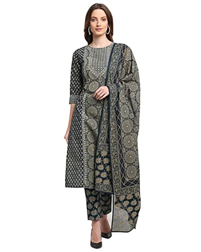 Rajnandini Women's Pure Cambric Cotton Floral Printed Straight Kurta Set With Dupatta (Ready To Wear; Navy Blue; S To XXL-Size)