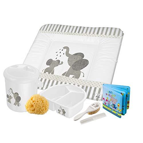 Rotho Babydesign Kit de Bain, 7-pièces, À partir de 0 Mois, Modern Elephants, Bella Bambina, Blanc, 210550001CG