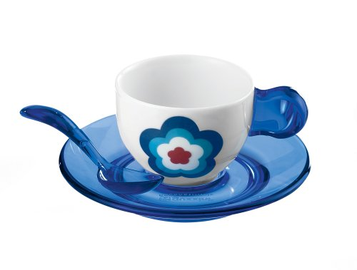Guzzini Set von 2Blue Flower Espresso Tassen + Untertassen + Teelöffel