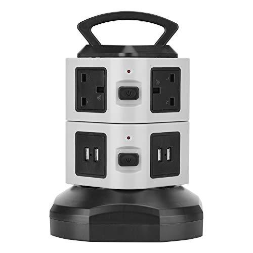 Toma de corriente, 4 puertos USB Enchufe de Alimentación del Interruptor del Reino Unido Enchufe de Plástico para el Estudio para el Hogar