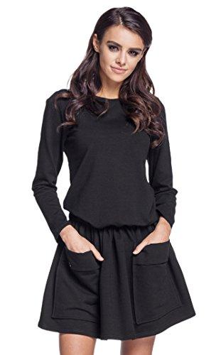 Lemoniade trendiges Kleid mit Langen Ärmeln und kurzem Rock (M (38), Modell 5 Schwarz)