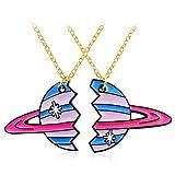 WNDRZ Collar De 2 Piezas De Oro Esmalte Planet Puzzle Collar para Mujeres Hombres Amistad Pareja Joyería Collares