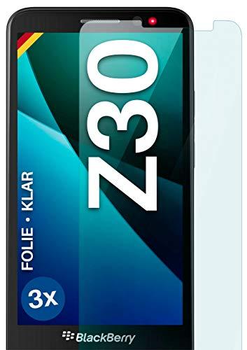 moex Klare Schutzfolie kompatibel mit BlackBerry Z30 - Bildschirmfolie kristallklar, HD Bildschirmschutz, dünne Kratzfeste Folie, 3X Stück